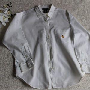 Ralph Lauren White Button Down Shirt w/Crest 16